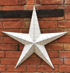 Whitewashed XL Metal Barn Star