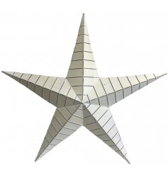 this extra large metal barn star decoration features a distressed off white tone and rustic inspired finish.