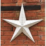 Whitewashed Large Metal Barn Star