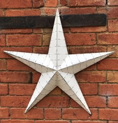 Whitewashed Large Metal Barn Star