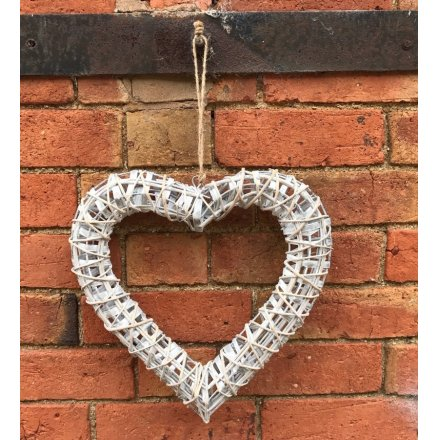 A medium size white willow heart wreath