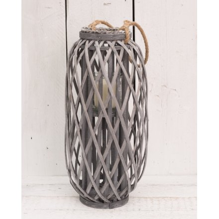 Large Grey Woven Lantern With Rope Handle 49cm
