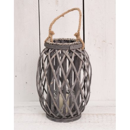 Grey Woven Lantern With Rope Handle 33cm