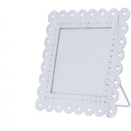 Small White Shabby Chic Metal Photo Frame | 37533 | Homeware / Photo ...