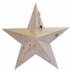 A 59cm white wooden barn star