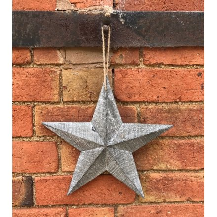 A small Greywashed Wooden Barn Star