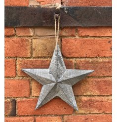 Greywashed Wooden Barn Star, Small