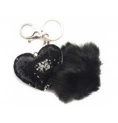 Bring an extra touch of glitter to your handbag with this glam sequin heart and pompom key ring
