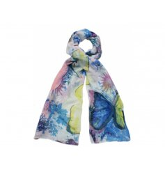 Add a statement touch to your outfit with this beautiful glittered butterfly scarf, chose from either Pinks, blues