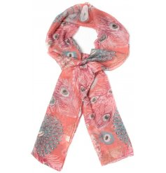 beautiful peacock feather scarf, chose from either Pink, blue or orange tones to suit your outfit