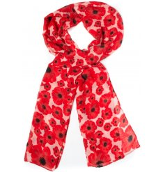 An assortment of 3 poppy printed scarves