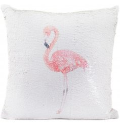 Add a fun flamingo touch to your sofa with this chic sequin cushion
