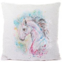 Add a dashing unicorn touch to your sofa with this chic sequin cushion