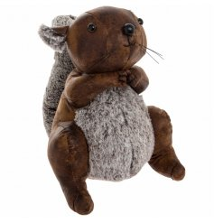 A charming little faux leather squirrel doorstop with added faux fur accents
