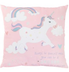 Add a magical unicorn touch to any bedroom space with this quirky printed cushion