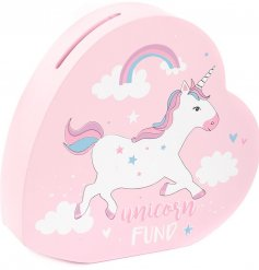 Add a magical unicorn touch to any bedroom space with this quirky pink money box