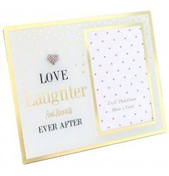 This mirrored photo frame with signature Mad Dots polka dots and 'Love, laughter and happily ever after