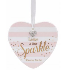 Leave a little sparkle wherever you go with this beautifully finished hanging heart