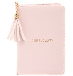 "A glamorously styled pink faux leather passport cover with a chic gold ""Up up and away "" quote"