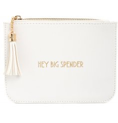 "A glamorously styled white faux leather purse with a chic gold ""Hey Big Spender"" quote"