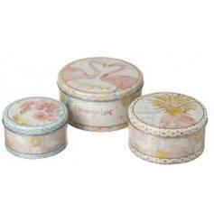 A set of 3 flamingo love design storage tins. Each tin has a pretty watercolour effect design.