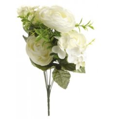 A beautiful white assortment of bunched artificial flowers
