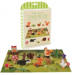 A 3D woodland scene activity set complete with little animals