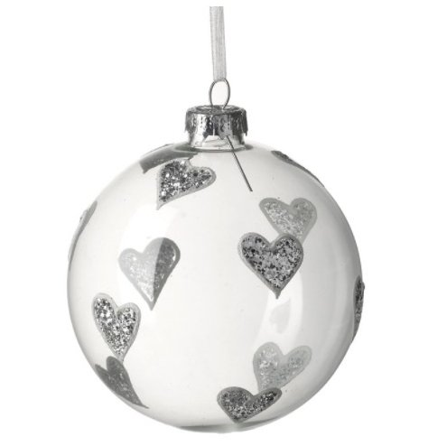 An elegant glass bauble decorated with silver glitter hearts. Complete with silver cap and organza ribbon hanger.