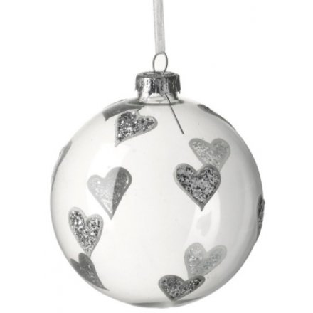 Silver Hearts Glass Bauble 8cm