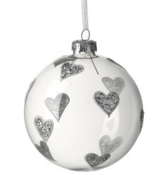 Add a glitzy and loving touch to any christmas tree with this clear glass bauble.
