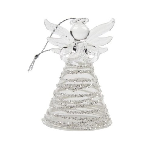 A chic glass angel decoration with a silver glitter swirl skirt and feathered wings.