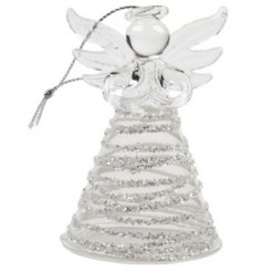 Add this beautifully delicate glass angel into any tree at christmas for a glitzy chic touch