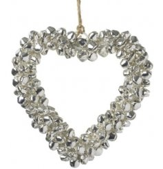 Silver Bell Heart 10cm  Add a jingly touch to any space with this bell covered heart shape hanger