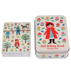 A set of red riding hood themed playing cards in a metal tin