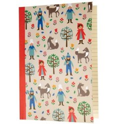 An A5 lined notebook with Red Riding Hood themed cover