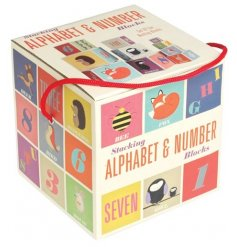 A box of Rusty & Friends Alphabet & Numbers Stacking Blocks