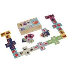 A set of Rusty & Friends Picture Dominoes in a wooden box