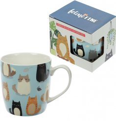 A cute cat covered bone china mug