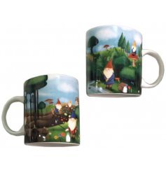 A fun gnome covered bone china mug, complete with a matching gift box