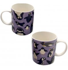 A bone china mug with purple & penguin design