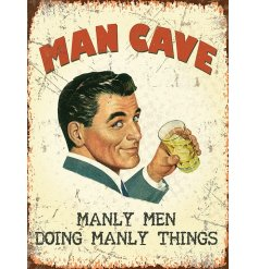 Add a retro look to any space with this man cave inspired metal sign
