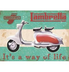 Lambretta Way of Life Metal Sign  A retro inspired metal sign,
