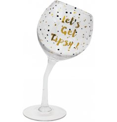 A fabulous tilted wine glass with a gold Let's Get Tipsy slogan! A novel gift item for wine lovers!