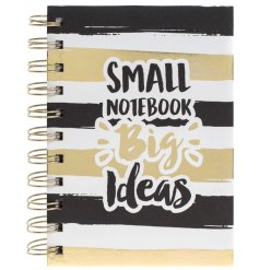 A chic and glamorous gold and black notebook for scribbling down your big ideas whilst on the go!