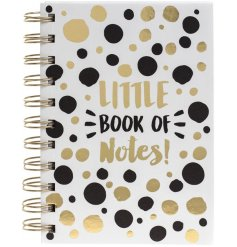 A chic little book of notes with a bold design in glamorous gold and black colours.