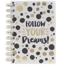 Follow Your Dreams! A gold and black polka dot style notebook for planning those big dreams.