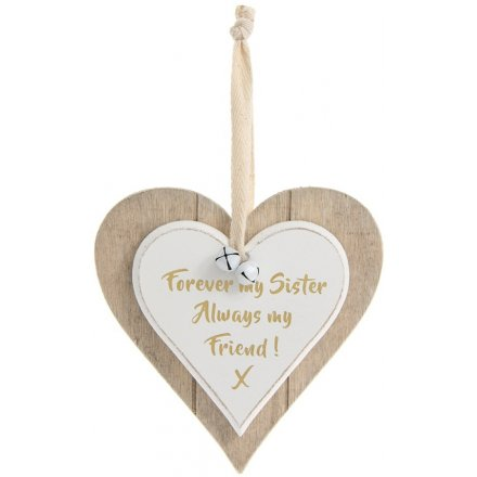 Double Heart Plaque Forever Mr Sister Hanging Decoration
