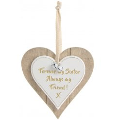 A double heart hanging plaque featuring forever my sister quote