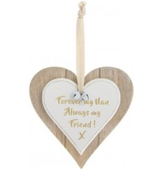 A double heart hanging decoration with forever my nan quote