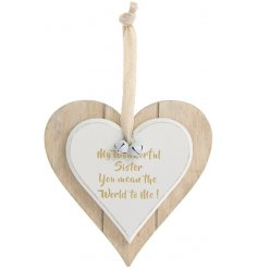 A double heart hanging plaque with my wonderful sister motto